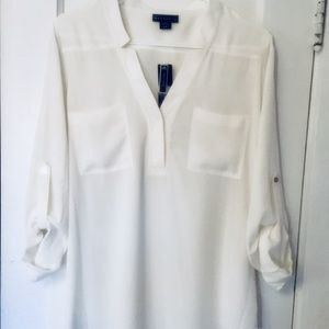 NWT White blouse large single button open front